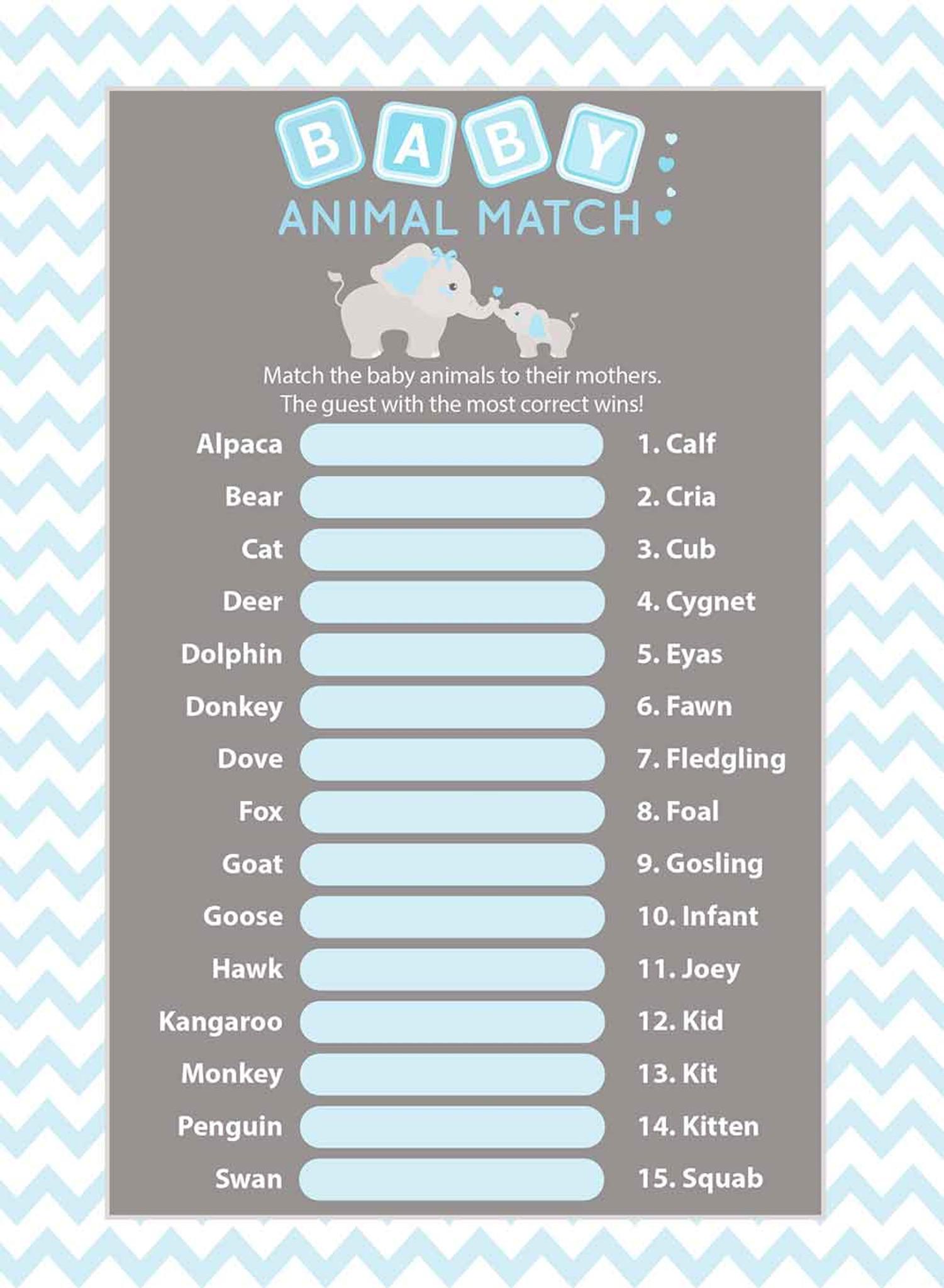 Animal Match baby shower game set of 25 Blue Elephant