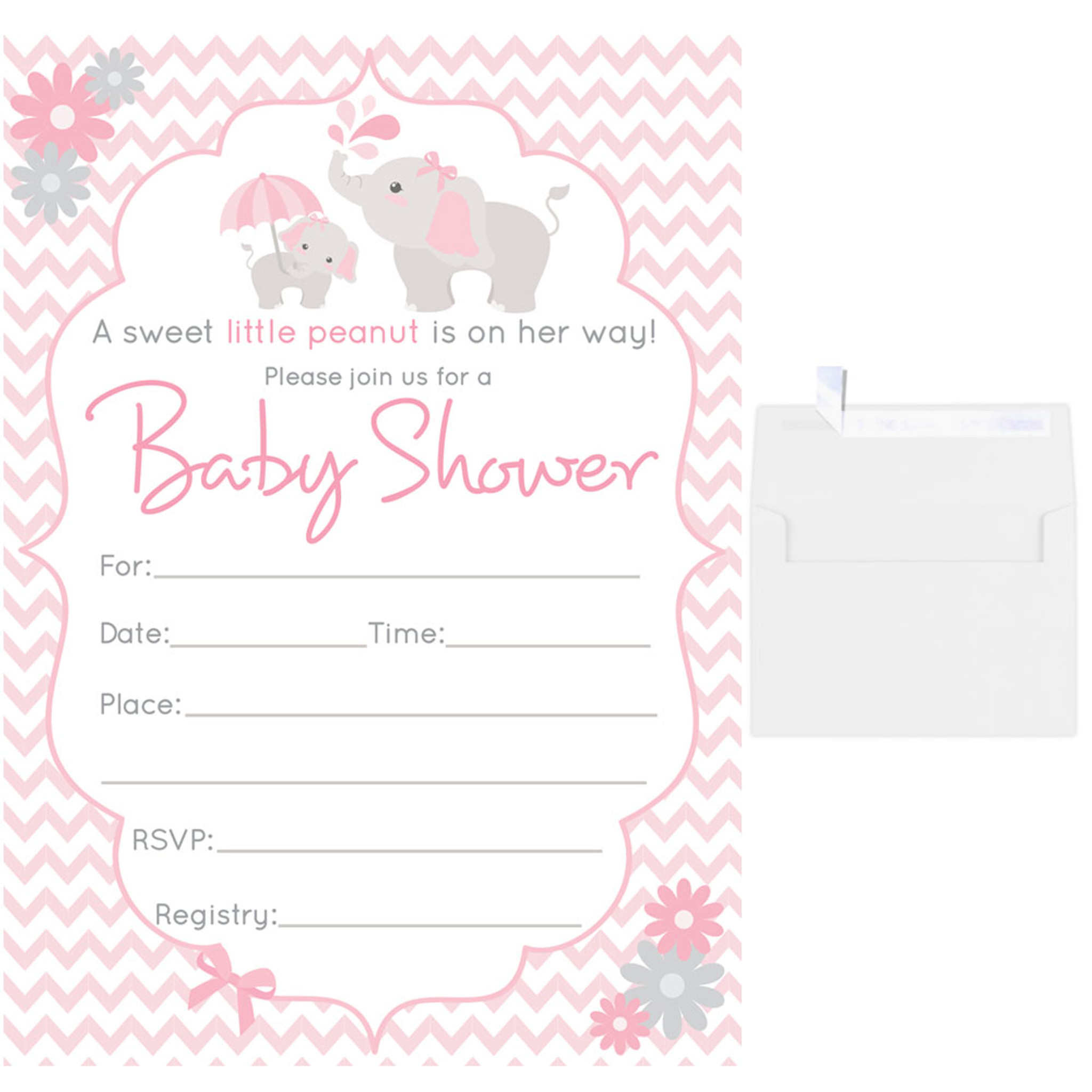 25 Fill In Blank Baby Shower Invitations W Envelopes Pink Elephant