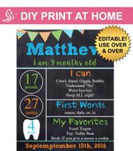 Boys printable milestone chalkboard poster
