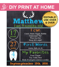 Antler Printable monthly chalkboard poster