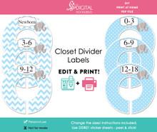 Blue Elephant Printable Closet Dividers
