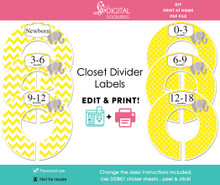 Yellow Elephant Printable Closet Dividers