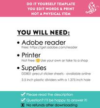 Pink & Purple Printable Closet Dividers