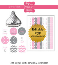Pink & Gray Printable Candy Stickers