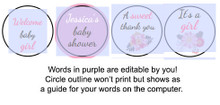 Flowers Printable baby shower stickers