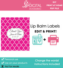 Pink Quatrefoil Printable Lip Balm Labels