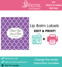 Purple Quatrefoil Printable Lip Balm Labels