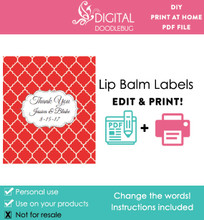 Red Quatrefoil Printable Lip Balm Labels