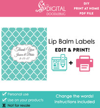 Teal Quatrefoil Printable Lip Balm Labels