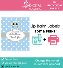 Blue Owl Printable Lip Balm Labels
