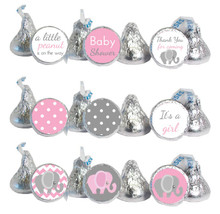 Pink and gray elephant mini candy stickers. With polka dots, thank you, it's a girl.