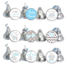 Blue & Gray Elephant Mini Candy Stickers 108 Labels
