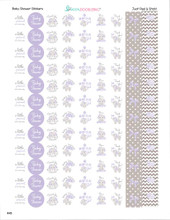 Purple & Gray Elephant Mini Candy Stickers 108 Labels
