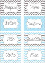 Light Blue & Gray chevron printable nursery drawer labels