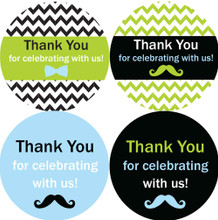 "2"" thank you for celebrating with us! Little man baby shower stickers"