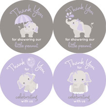 "2"" elephant baby shower favor stickers. Purple and gray for girls."