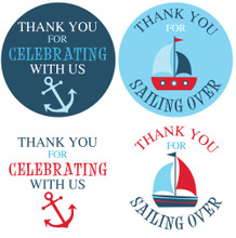 "2"" nautical baby shower stickers in red, navy, and blue for boys"
