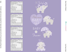 8.5x2 inch purple elephant baby shower for girl water bottle labels