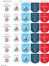 Hand Sanitizer labels nautical 30 stickers