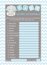 Word Scramble baby shower game set of 25 Blue Elephant