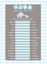 Animal Match baby shower game set of 25 Blue Elephant