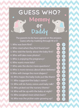 Mom or Dad baby shower game set of 25 Elephant theme