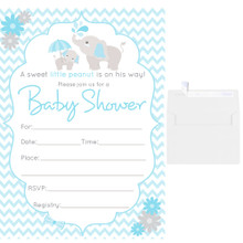 25 Fill in Blank Baby Shower Invitations w/ Envelopes Blue Elephant