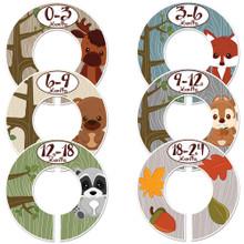 Woodland animals baby closet dividers