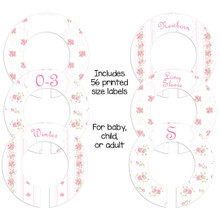 Pink Roses theme closet dividers for organizing baby, child, or adult closet