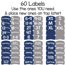 56 pre-printed sorting labels to organize by size or clothing type for child, teen, or adult.
