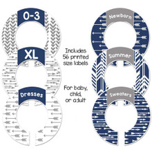Navy and gray arrows closet dividers for organizing your baby nursery or a gender neutral gift.