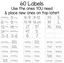 56 pre-printed sorting labels to organize by size or clothing type for baby, toddler, or child.