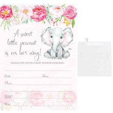 5x7 pink elephant floral baby shower invites for a girl