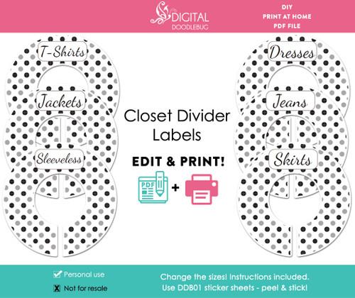 Printable adult or baby closet divider labels editable PDF