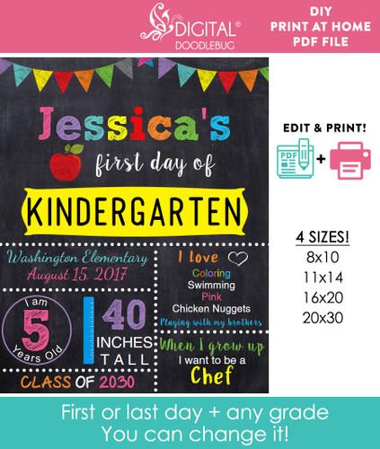 Editable Yellow School Sign Printable Poster
