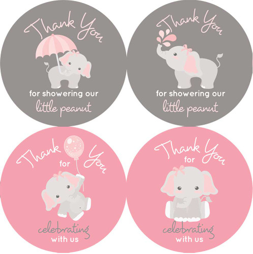"""2"""" elephant baby shower stickers. Pink and gray for girls."""