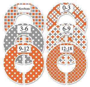 orange and gray wardrobe size dividers