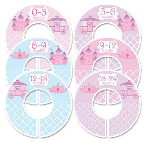pink & purple princess baby clothes hanger dividers