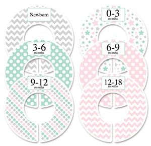 pastel green pink and gray nursery clothes separator