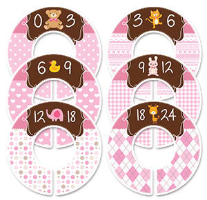 Girls baby animals pink size separators