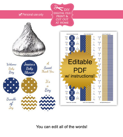 Navy Amp Gold Printable Baby Shower Candy Stickers Editable Pdf