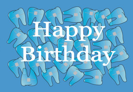 Happy Birthday Teeth in Blue Background