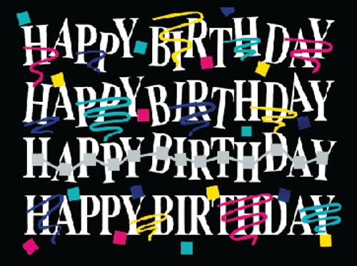 Happy Birthday confetti Black