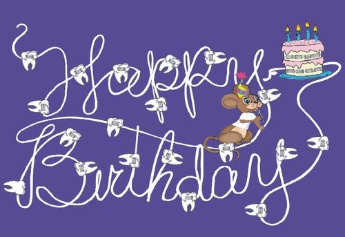 Happy Birthday Mouse w/Cake