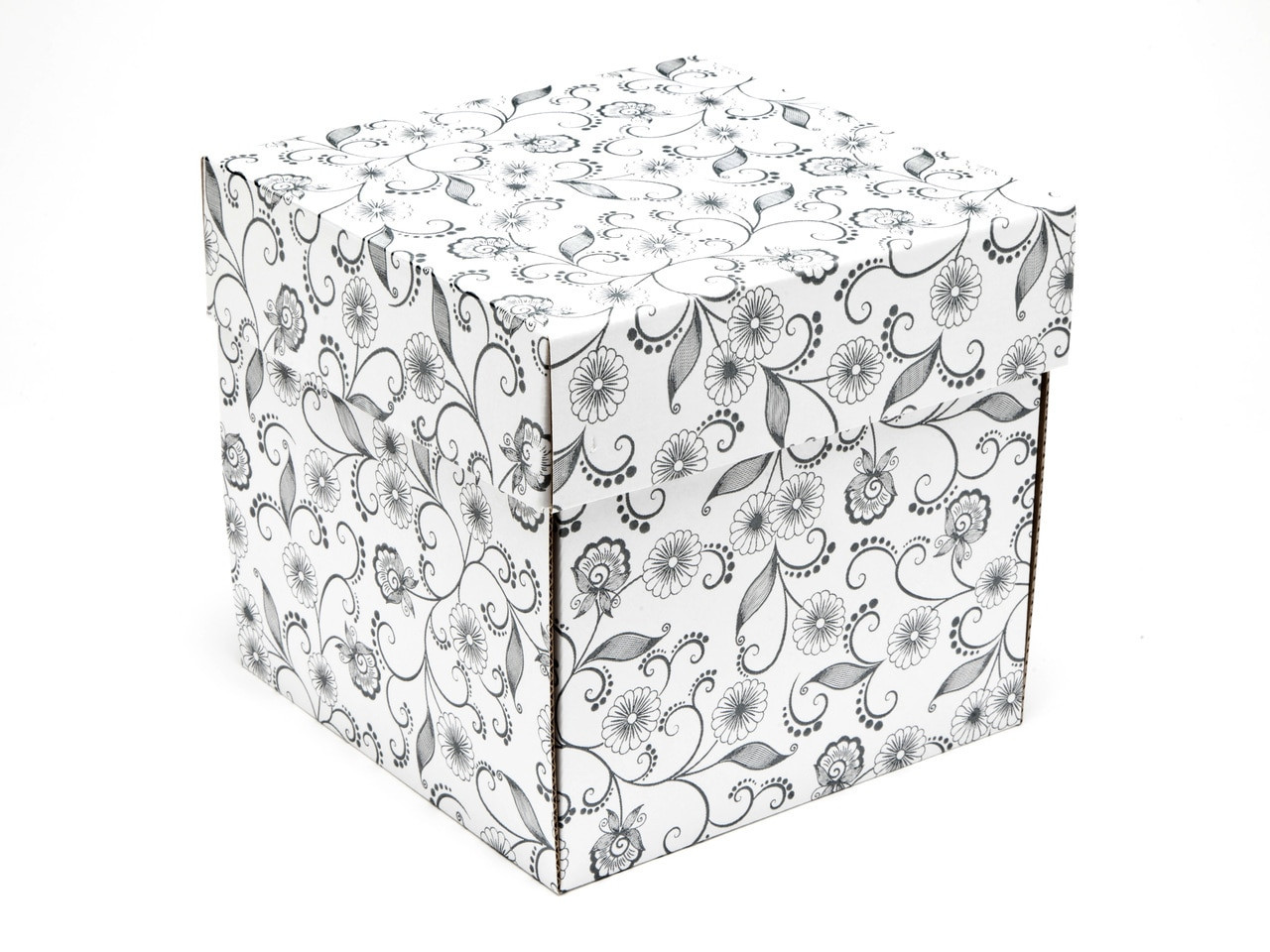 Large Cube General Purpose Gift Box White With Floral Pattern Meridiansp