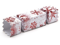 Small Twist End Cracker - Red and White Snowflake | MeridianSP
