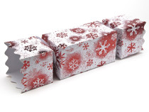 Extra Large Twist End Cracker - Red and White Snowflake | MeridianSP