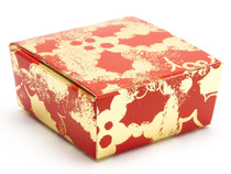 4 Choc Ballotin - Red and Gold Holly | MeridianSP