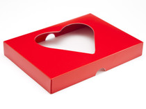 24 Choc Red Heart Windowed Box Lid