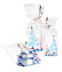 100x220mm Hard Bottom film bag with Christmas Tree Foiled design